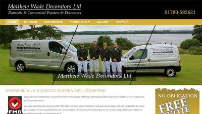 Web design for Matthew Wade Decorating