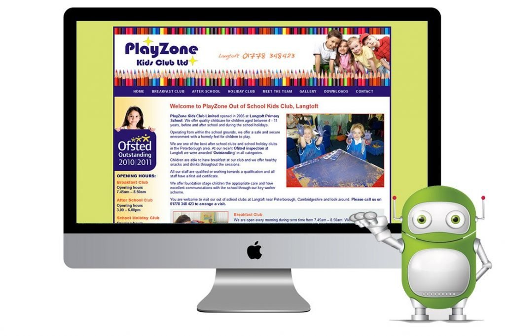 Playzone Kids Club Website Design, Peterborough